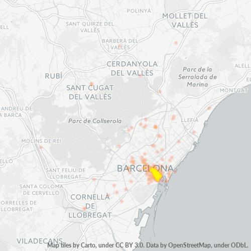 08002 Mapa de calor de densidad empresarial