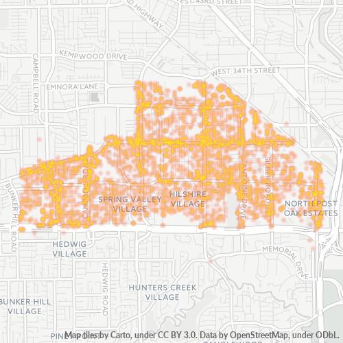 77055 Business Density Heatmap