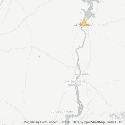 3200 Mapa de calor de densidad empresarial