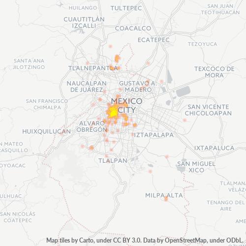 06760 Mapa de calor de densidad empresarial