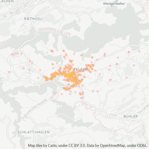 9053 Standortdichte-Heatmap