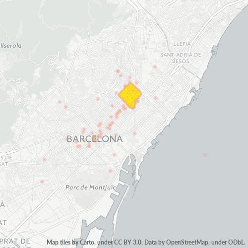 08026 Mapa de calor de densidad empresarial