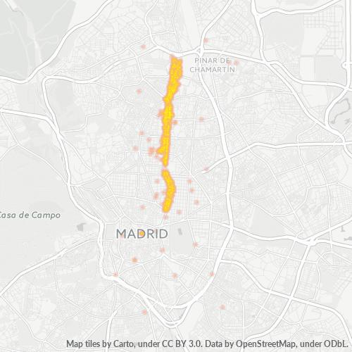 28046 Mapa de calor de densidad empresarial