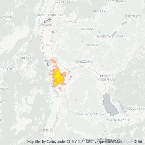 38122 Mappa di concentrazione per la densità di aziende