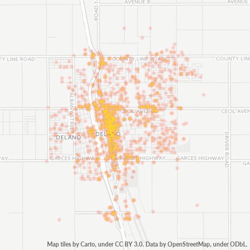 93215 Business Density Heatmap