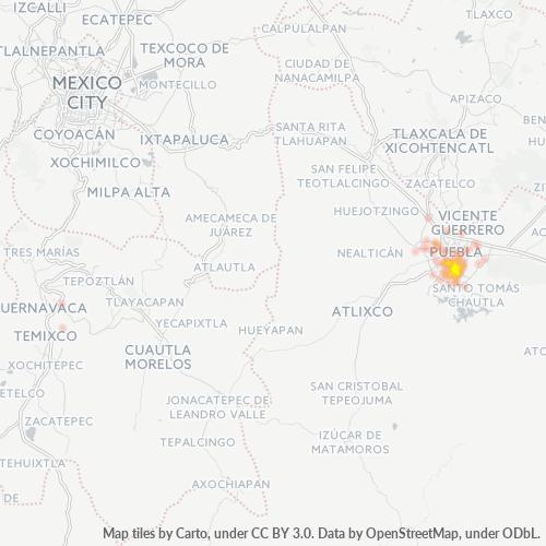 72570 Mapa de calor de densidad empresarial