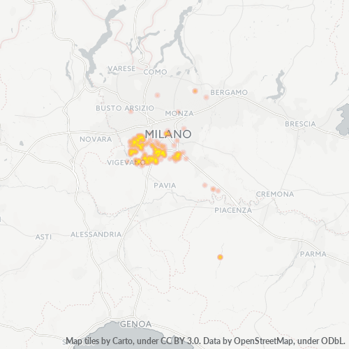 20080 Mappa di concentrazione per la densità di aziende
