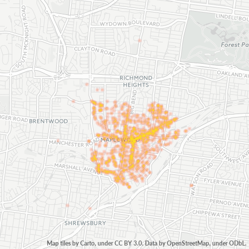 63143 Business Density Heatmap