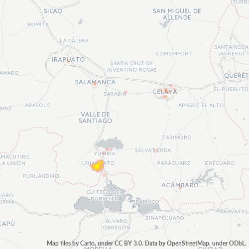 38800 Mapa de calor de densidad empresarial