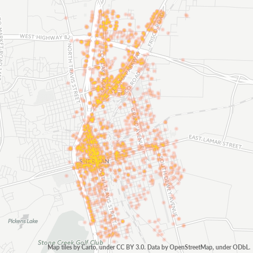 75090 Business Density Heatmap