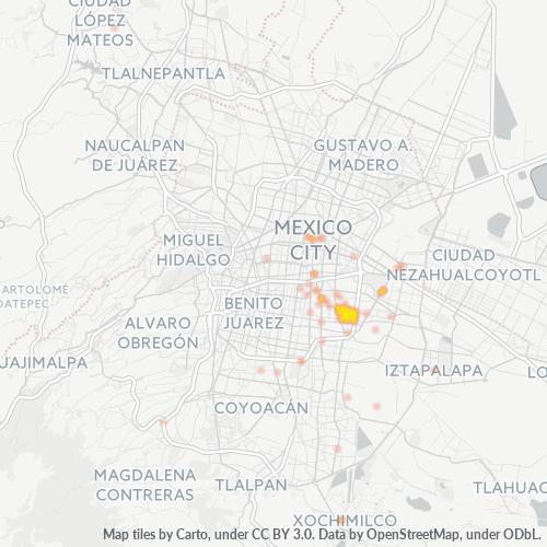 08900 Mapa de calor de densidad empresarial