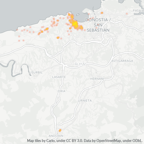 20008 Mapa de calor de densidad empresarial