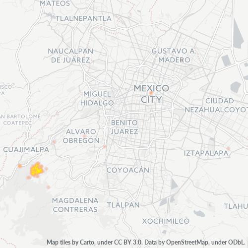 01830 Mapa de calor de densidad empresarial