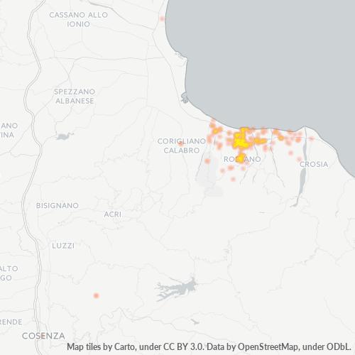 87067 Mappa di concentrazione per la densità di aziende