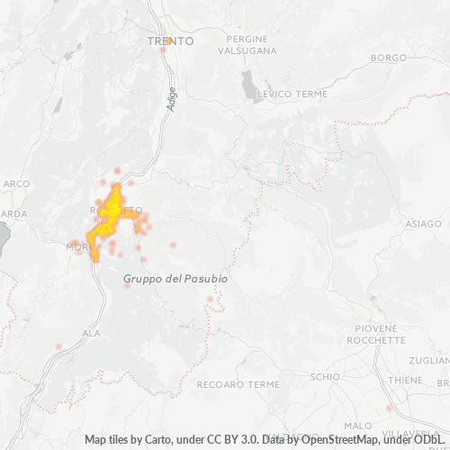 38068 Mappa di concentrazione per la densità di aziende