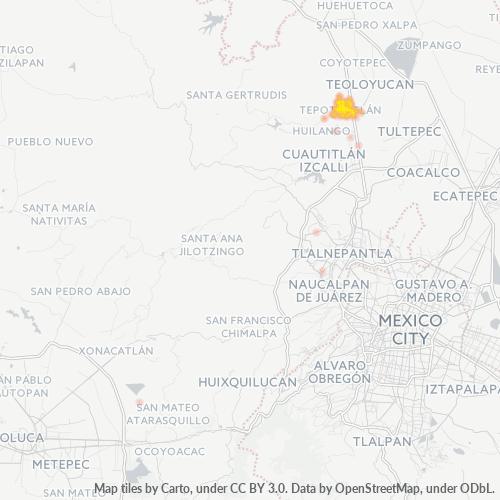 54605 Mapa de calor de densidad empresarial
