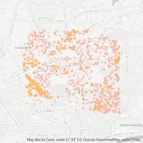 18017 Business Density Heatmap