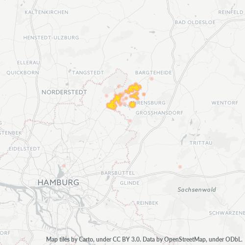 22949 Standortdichte-Heatmap