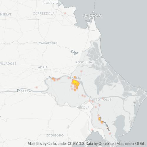 45019 Mappa di concentrazione per la densità di aziende