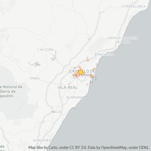 12001 Mapa de calor de densidad empresarial