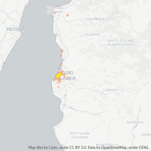 89125 Mappa di concentrazione per la densità di aziende