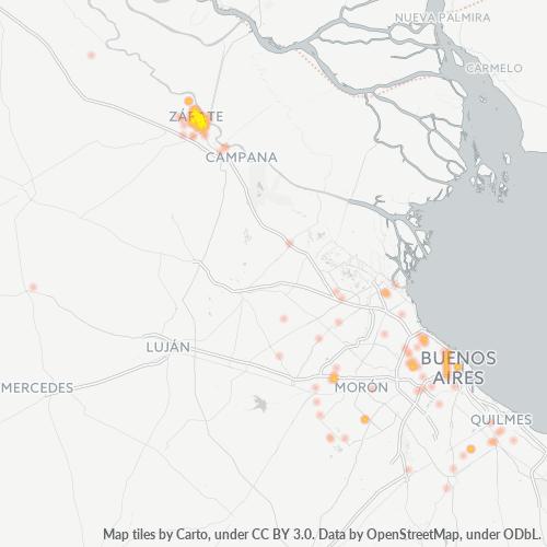 2800 Mapa de calor de densidad empresarial