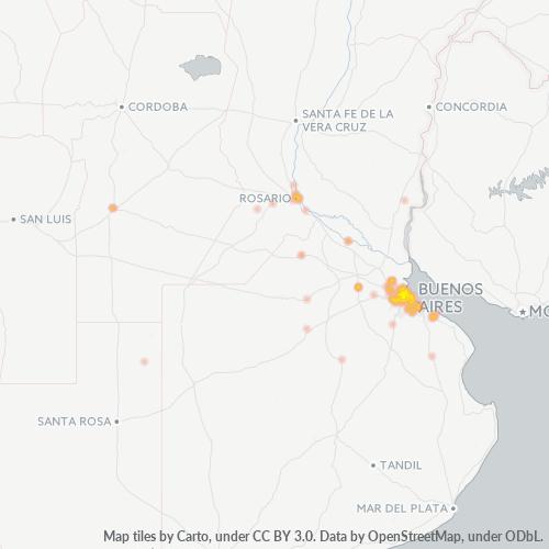 1650 Mapa de calor de densidad empresarial