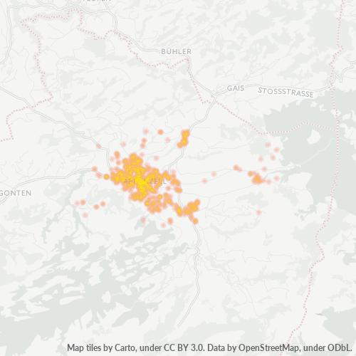 9050 Standortdichte-Heatmap