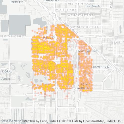 33166 Business Density Heatmap