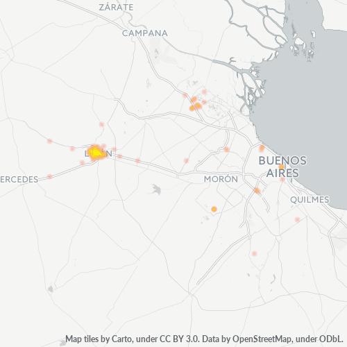 6700 Mapa de calor de densidad empresarial