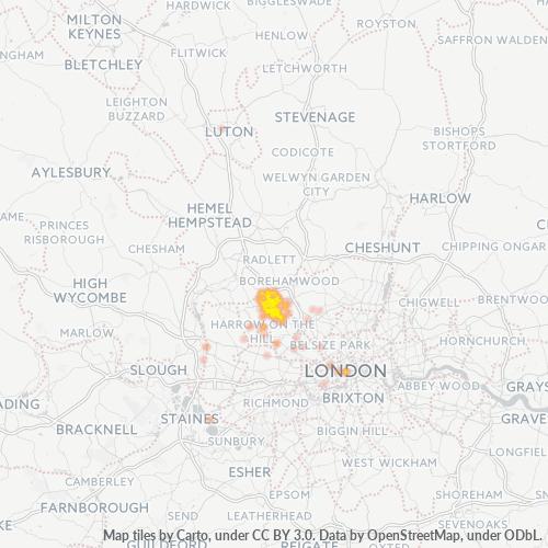 HA7 Business Density Heatmap