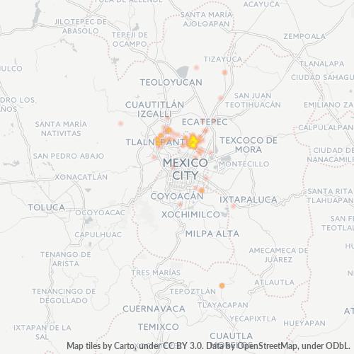 54190 Mapa de calor de densidad empresarial