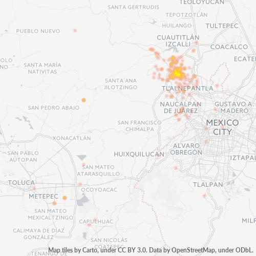 52900 Mapa de calor de densidad empresarial